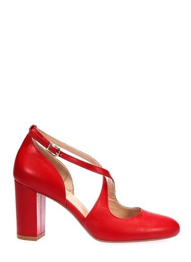 İnci Kalın Topuklu Deri Ayakkabı Kırmızı